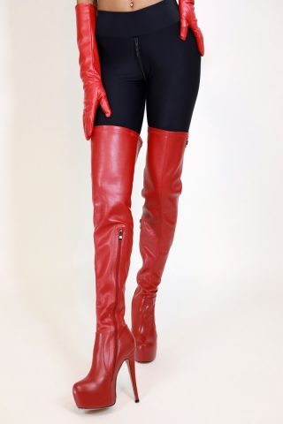 Long Overknee Stretch Red