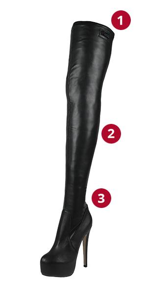 Arollo Overknee Stretch Black Sizes