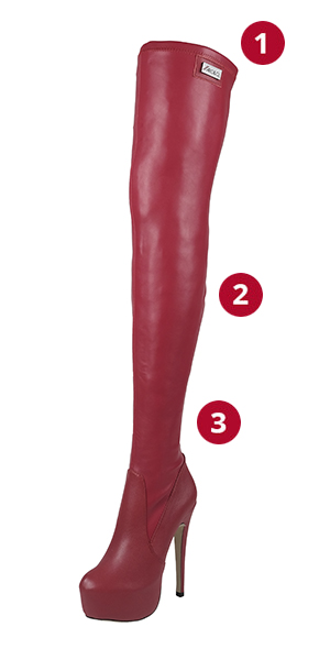 Arollo Long Overknee Stretch Red Sizes